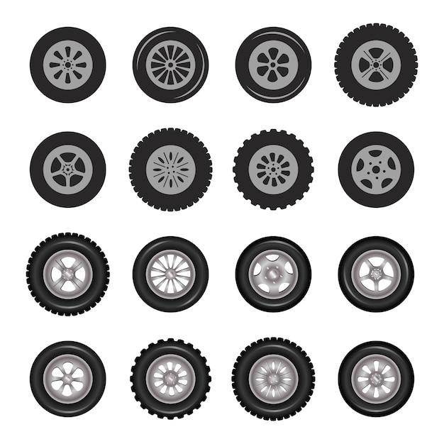 Car wheels icons detailed photo realistic  set. Premium Vector