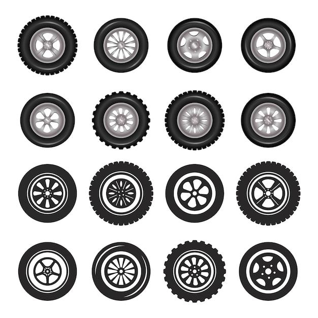 Car wheels icons detailed photo realistic vector set. Premium Vector