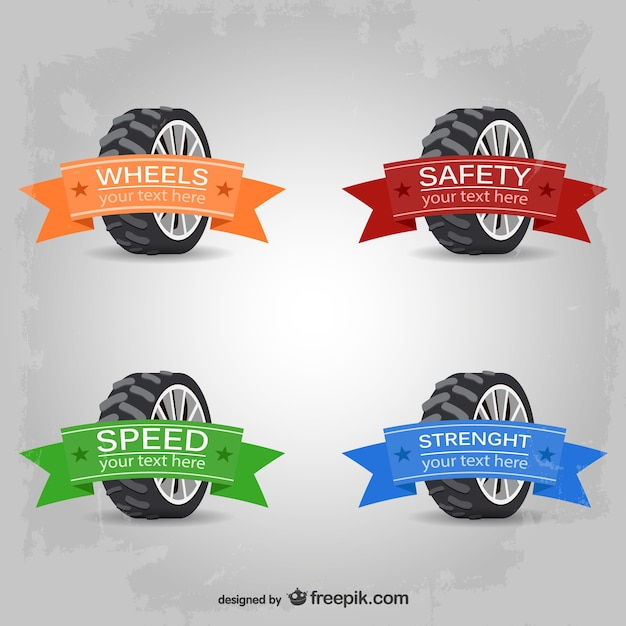 Car wheels logos with ribbons in different colors Free Vector