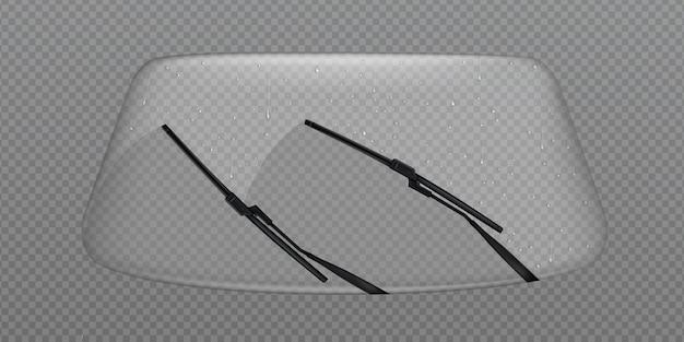 Стеклоочиститель чистое лобовое стекло, лобовое стекло с каплями дождя Бесплатные векторы