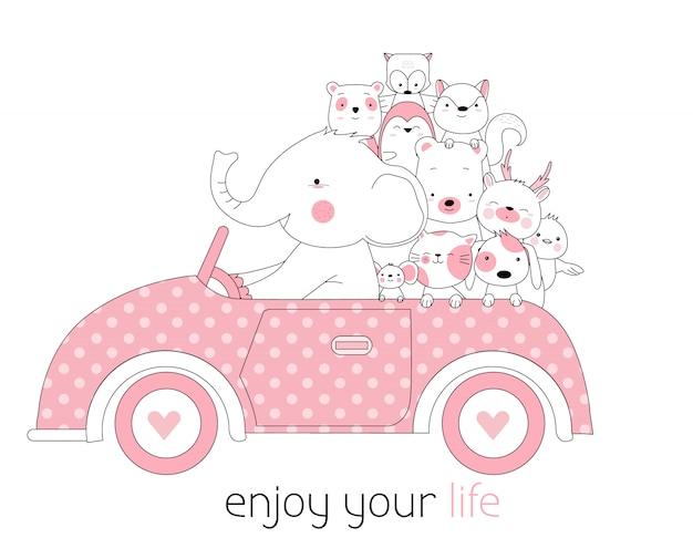 Car with cute animals cartoon hand drawn style Premium Vector