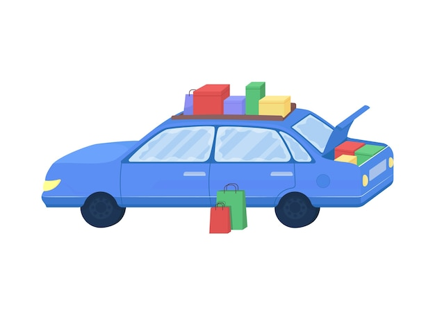 購入した商品フラットカラーベクトルオブジェクトを持つ車。季節限定セールのバッグ付きオート。家族の買い物のための自動車孤立した漫画 Premiumベクター