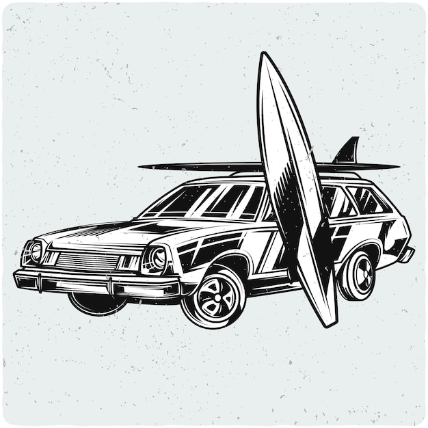 Car with surfing boards Premium Vector