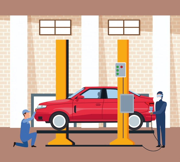 Car workshop scenery with lifted car and man painting red Premium Vector