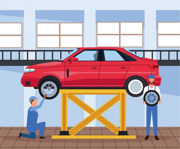 Car workshop scenery with mechanics and lifted car Premium Vector