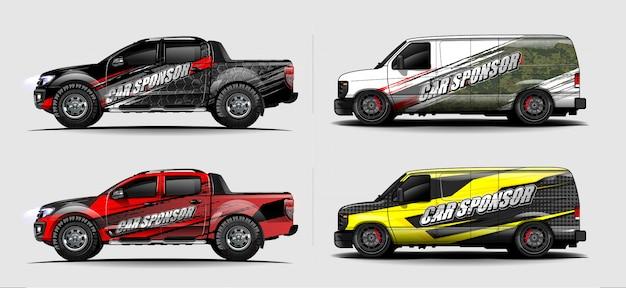 Автомобиль упаковка наклейка дизайн вектор. абстрактный графический дизайн комплектов для автомобилей, гоночных автомобилей, ралли, ливреи, спортивных автомобилей Premium векторы