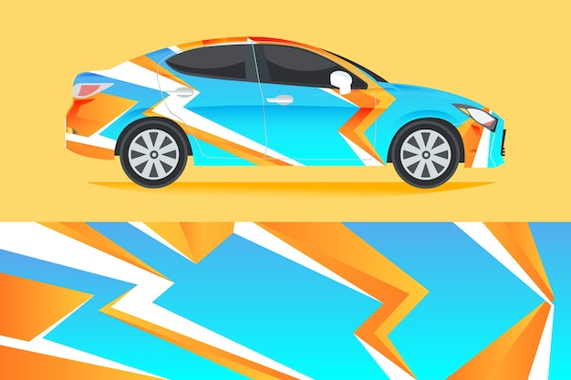 Car wrap design illustration Premium Vector