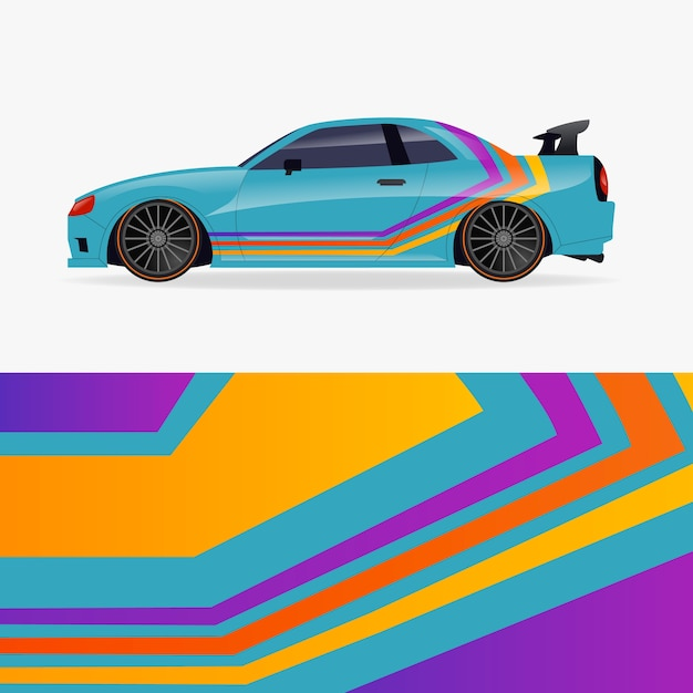 Car wrap design with colourful lines Free Vector
