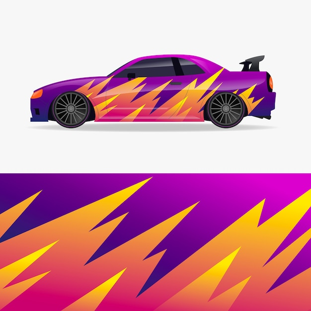 Car wrap design with flames Free Vector