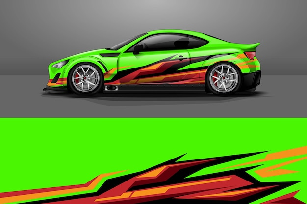 Дизайн упаковки автомобилей с полосой и гранж абстрактный дизайн Premium векторы
