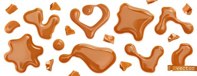 Caramel drops. 3d realistic  set Premium Vector