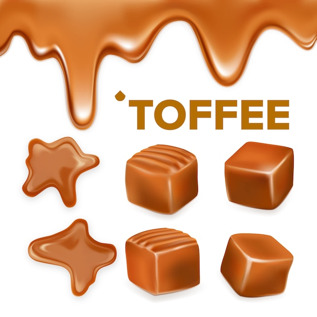 Caramel toffee candy delicious sweet set Premium Vector