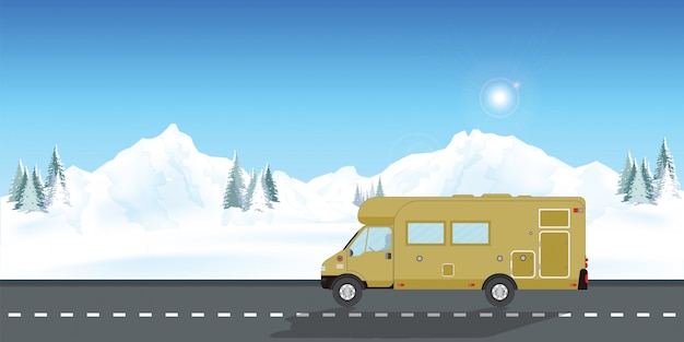 Caravan car vacation in winter holiday trip Premium Vector