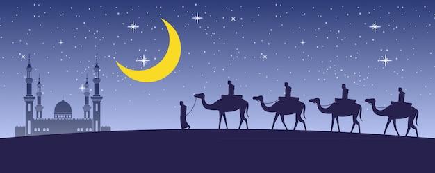 Caravan muslim ride camel to mosque Premium Vector