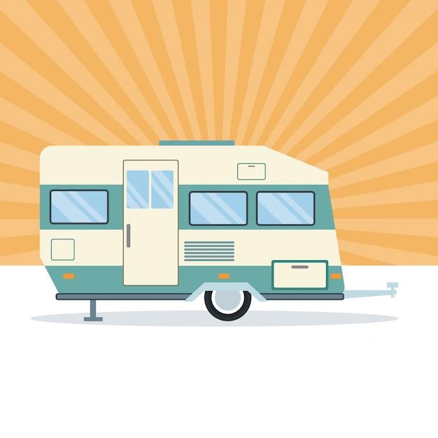 Caravan trailer vehicle Premium Vector