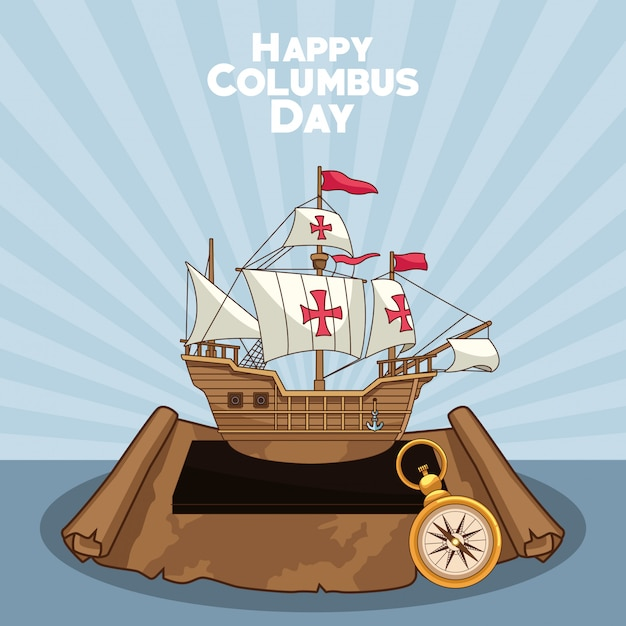 Caravel and compass, happy columbus day design Premium Vector