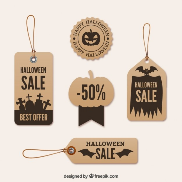 Carboard halloween labels Free Vector
