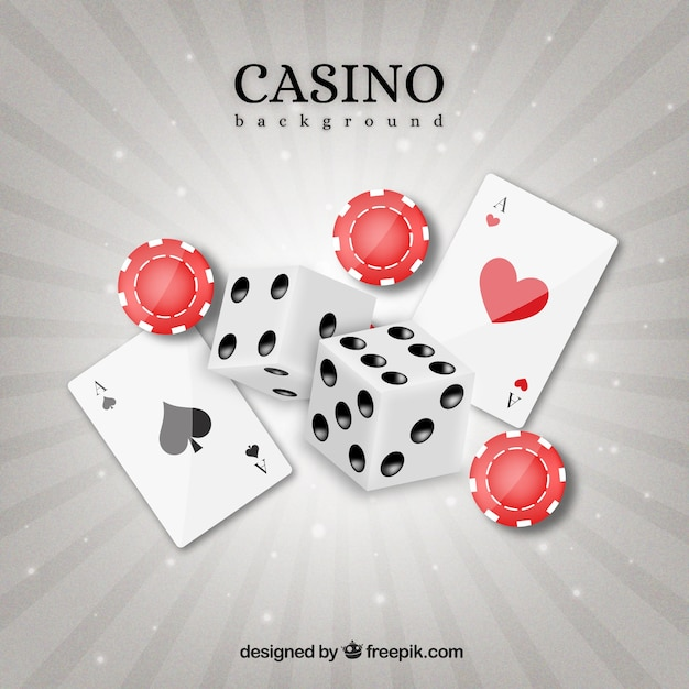 Card background with tokens and dice Premium Vector