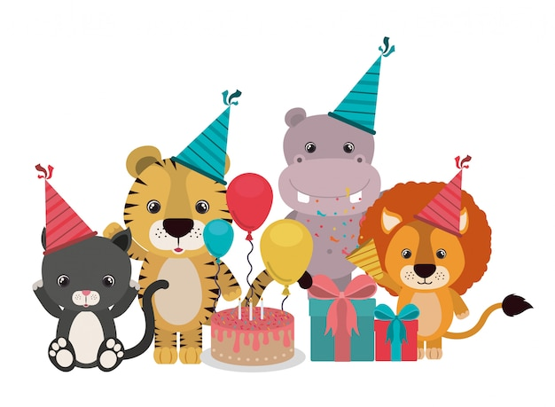 Card of celebration with animals on white Premium Vector