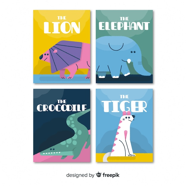 Card collection of wild animals Free Vector