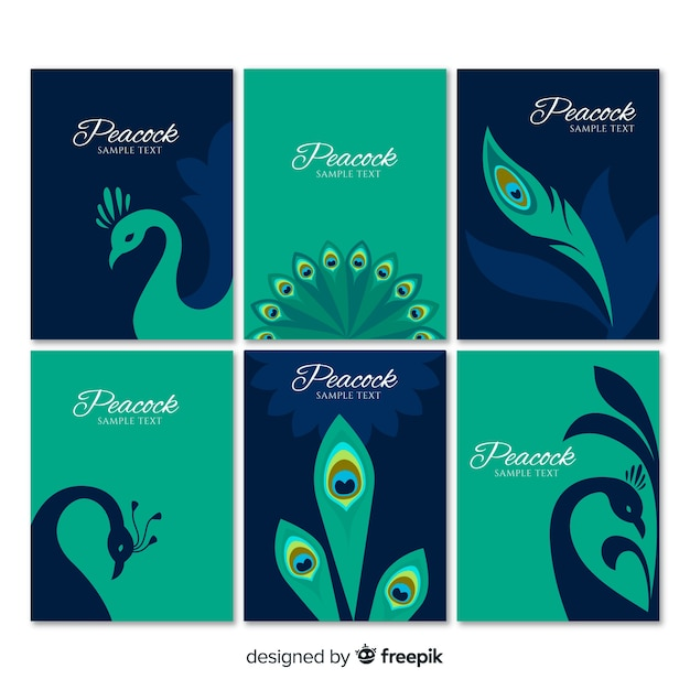 Card collection with peacock designs Free Vector