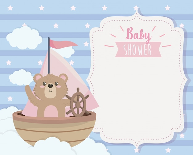 Card of cute bear in the ship and clouds Free Vector