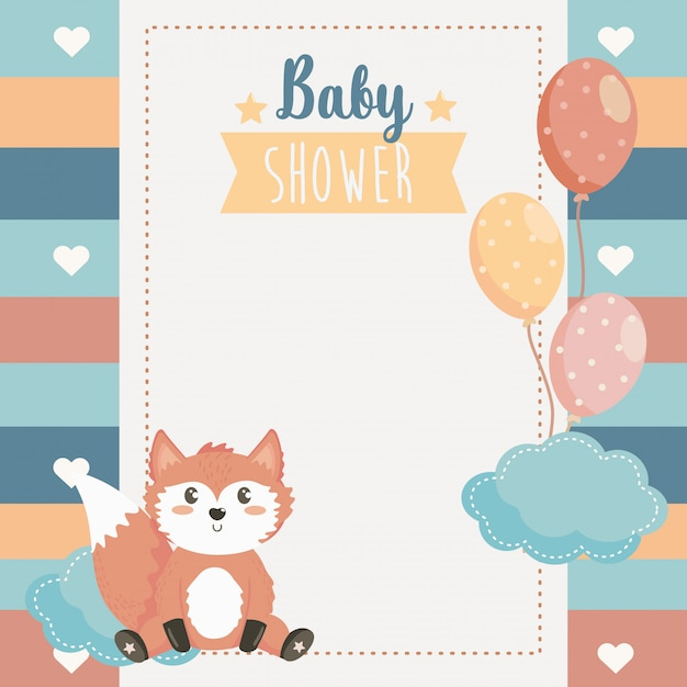 Card of cute fox animal with balloons and cloud Free Vector