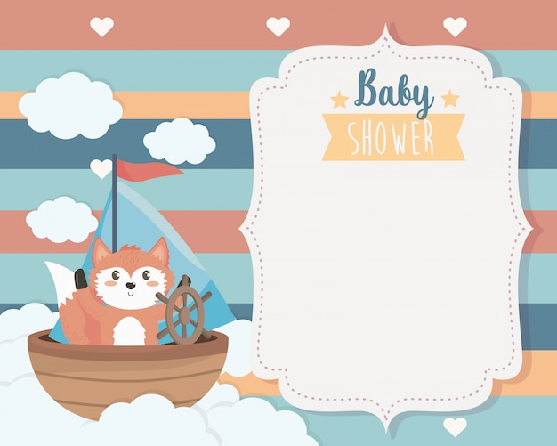 Card of cute fox in the ship and clouds Free Vector