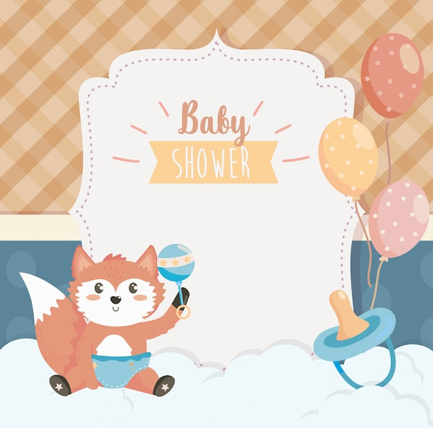 Card of cute fox with rattle and pacifier Free Vector