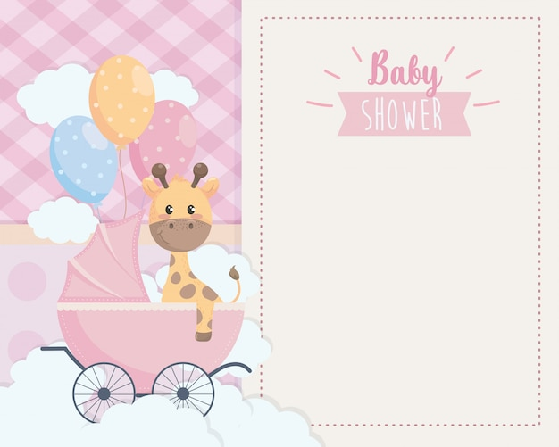 Card of cute giraffe in the carriage and balloons Free Vector