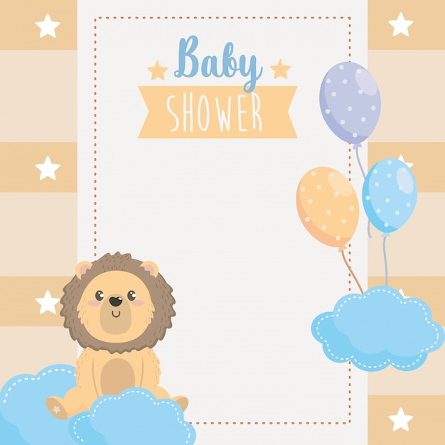 Card of cute lion animal with balloons Free Vector