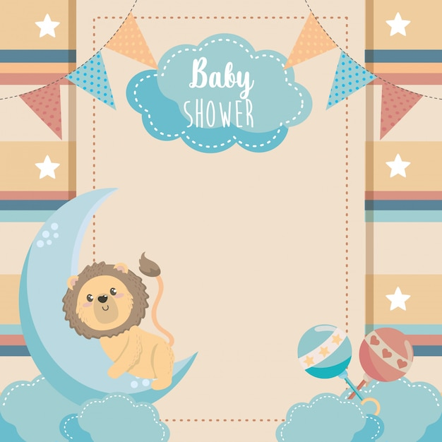 Card of cute lion with rattles and moon Free Vector