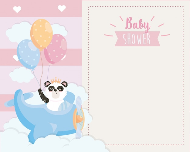 Card of cute panda in the cradle with balloons Free Vector