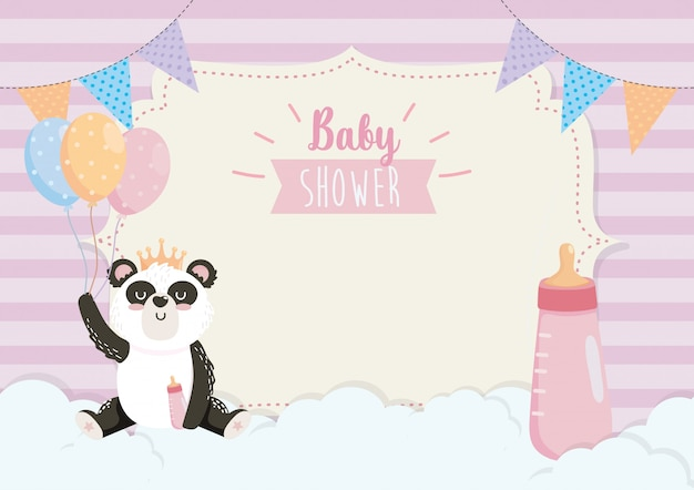 Card of cute panda with feeding bottle and balloons Free Vector