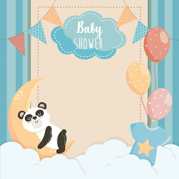 Card of cute panda with label and balloons Free Vector