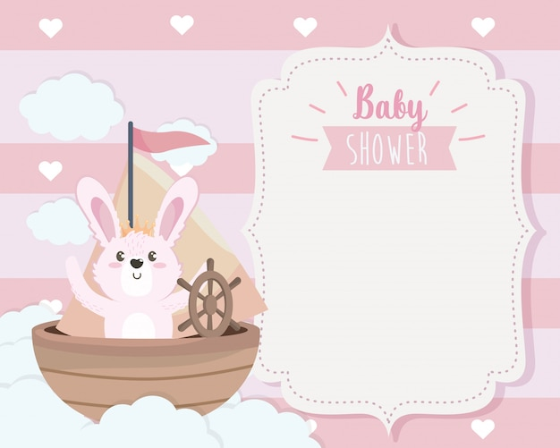 Card of cute rabbit in the ship and clouds Free Vector