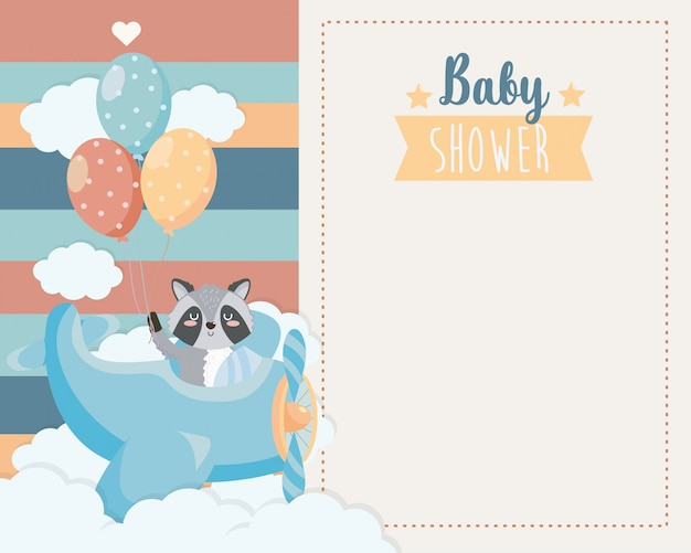 Card of cute raccoon in the cradle and balloons Free Vector