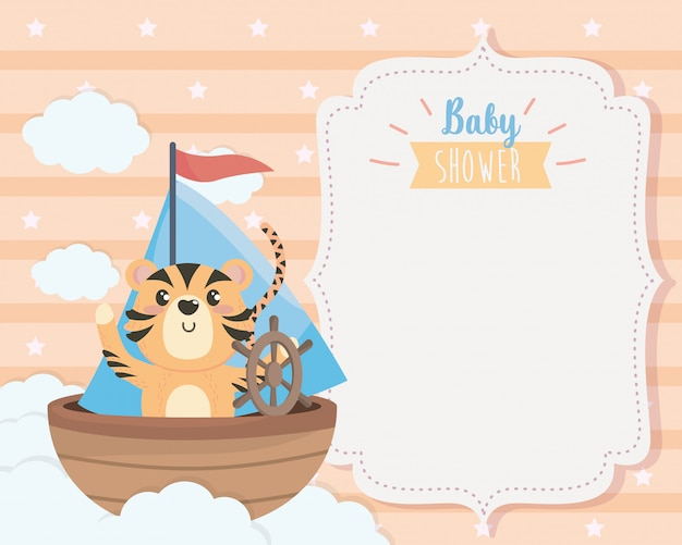 Card of cute tiger in the ship and clouds Free Vector