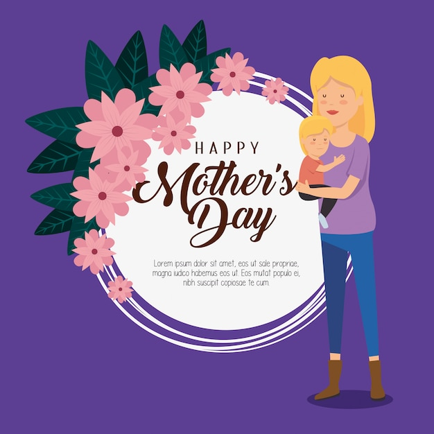 Card decoration and woman with her son to mothers day Free Vector