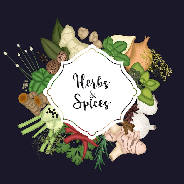 Card design background with spices and herbs Premium Vector