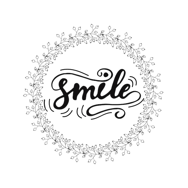 Card design with lettering Smile. Vector illustration. Premium Vector