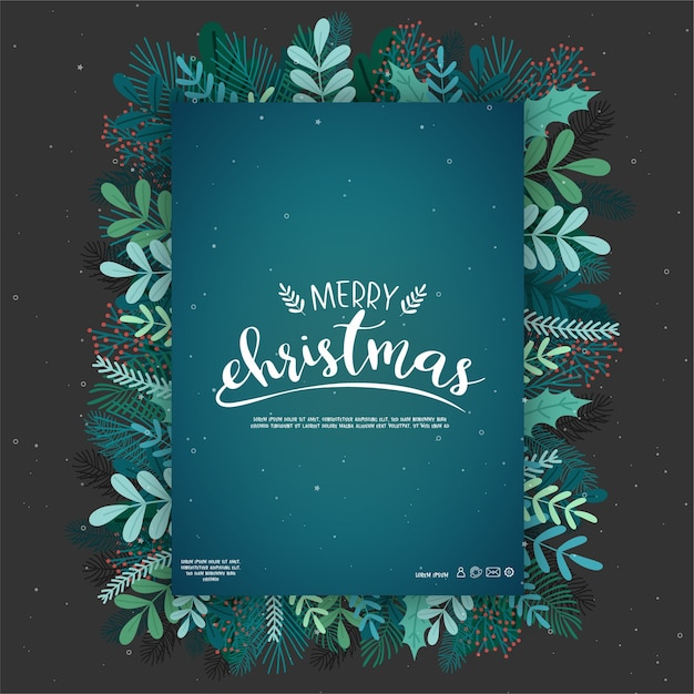 Card design with merry christmas icons Free Vector