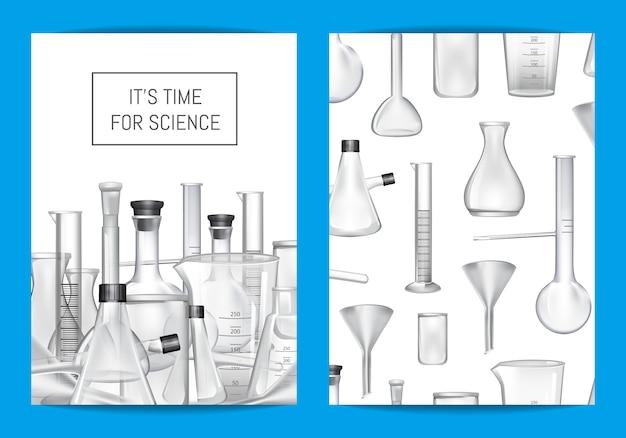 Card, flyer or brochure template for chemical lab or chemitry classes with glass tubes and place for text Premium Vector