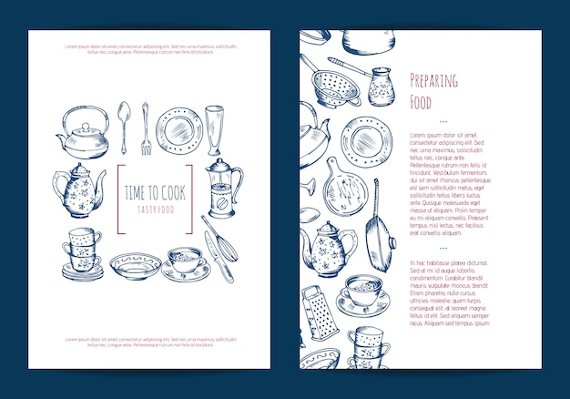 Card, flyer or brochure template for kitchen accessories shop or cooking classes with hand drawn kitchen utensils Premium Vector