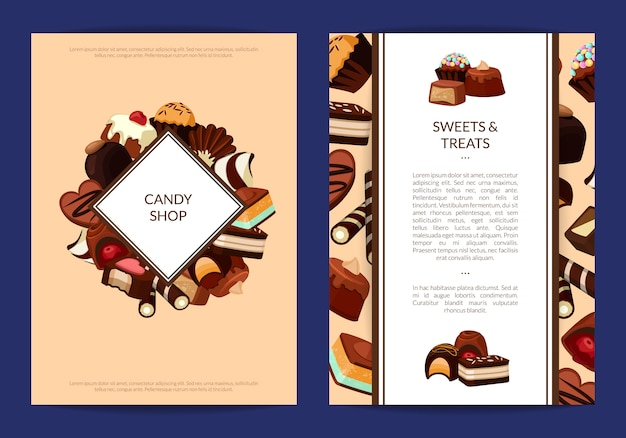 Card flyer templates set with cartoon chocolate candies and place for text Premium Vector