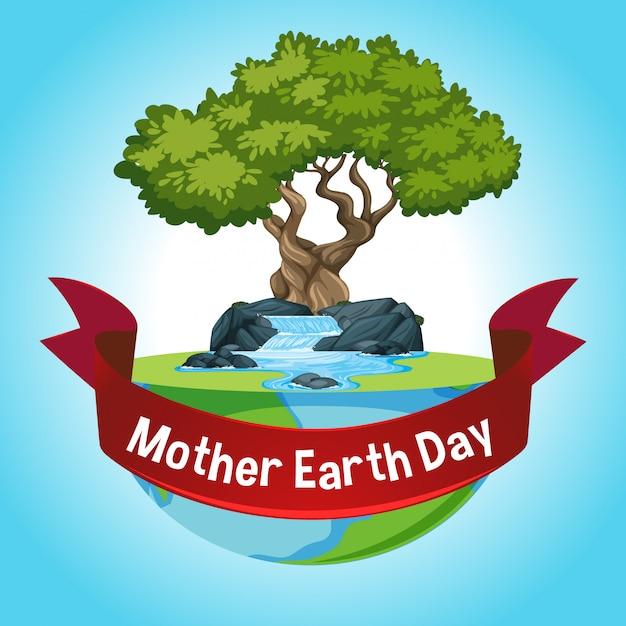 Открытка на день матери-земли с большим деревом на земле Бесплатные векторы