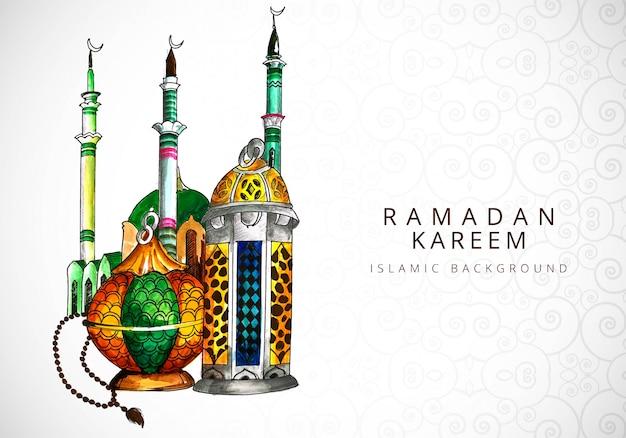 Карта для религиозного происхождения рамадан карим Бесплатные векторы
