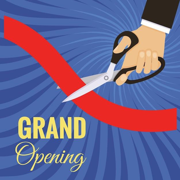 La cerimonia di inaugurazione della carta ha tagliato il nastro rosso con le forbici. Vettore gratuito