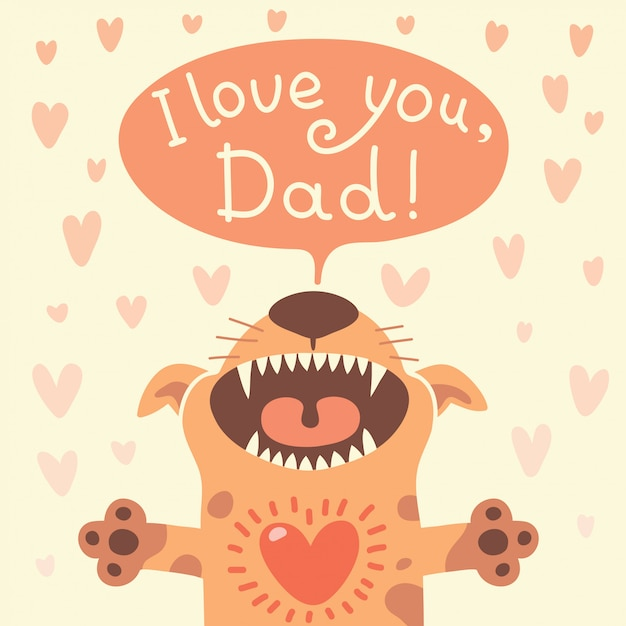 Card happy fathers day with a funny puppy. Premium Vector