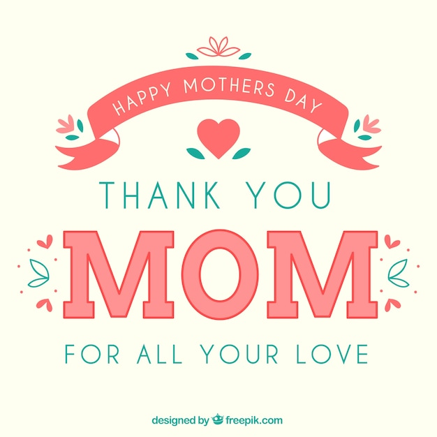 Card for happy mothers day Free Vector
